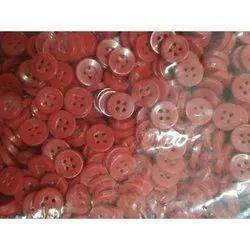 Round Red Plastic Shirt Button