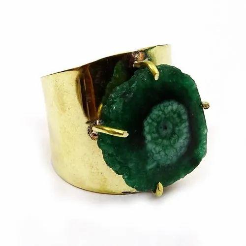 Druzy green gem stone ring