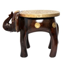 Brass Fitted Wooden Elephant