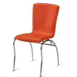 Orange Leather Visitor Chair