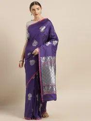 Kesari Soft Banarasi Silk Saree, All Over Silver Zari Work With Beautiful Mina Work