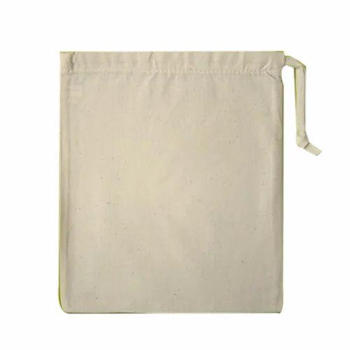 5f4c1dfe6eab Off White Plain Small Cotton Drawstring Bag