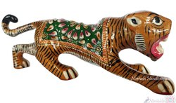 Metal Meenakari Tiger Statue Enamel Work Sculpture