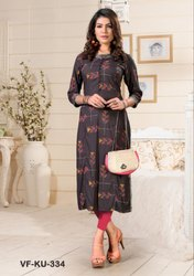 A-Line 3/4th Sleeve Indian Ethnic Designer Rayon Grey Kurti