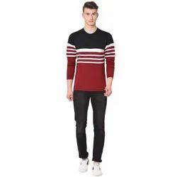 Cotton Glito Men's Color Block Full Sleeves T Shirt, Size: S-XL