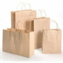 Brown Craft Paper Carry Bags, Bag Size: 230mm*180mm*150mm