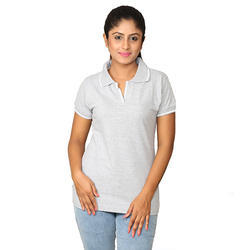 Gray And White Mistgear Gray Stripes Ladies Collar T Shirt