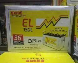 Exide EL 150L 3 Years Replacement Tubular Battery, Capacity: 100-150Ah