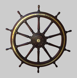 Antique Finish Wooden Brass Ship Wheel