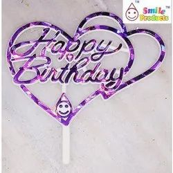 Heart Shape Happy Birthday Cake Topper