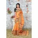 Cotton Casual Wear Orange Hand Held Block Printed Saree, Length: 6.3 M (with Blouse Piece)
