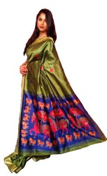 Riaa's Exclusive Elegant Jamdani Pallu Weaving Silk Handloom Saree Ethnic Sari