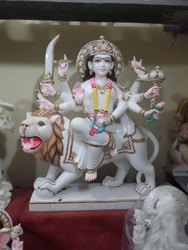 Goddess Durga White Marble Statue