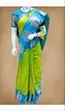 Party Wear Ladies Green And Sky Blue Pure Silk Saree, Length: 6.3 M (with Blouse Piece)