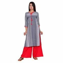 Grey And Red Crepe Kurti