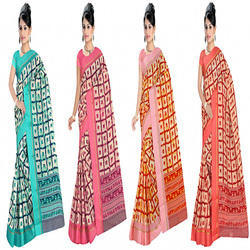 Majesty Silk Box Style Printed Saree with Blouse Piece, Length: 5.2 m