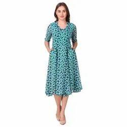 Sky Blue Printed Short Dress