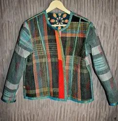 Checked Kantha Ladies Jacket