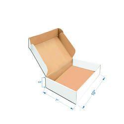 White Packaging Flat Corrugated Box 10 X 7 X 3.5