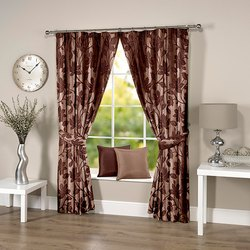 Abstract Flowery Coffee Curtain