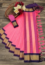 Casual Wear Plain Cotton Saree, With Blouse Piece