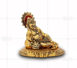 Gold Plated Resting Ganesh Statue