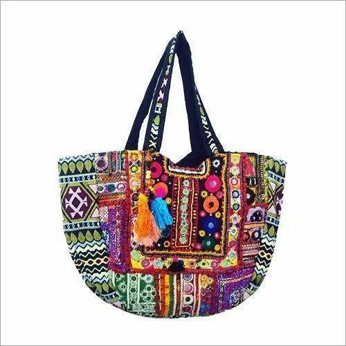 Cotton Multicolor 15x25 Inch Jaipuri Handicraft Handbag