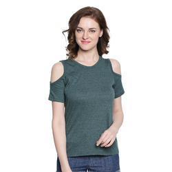 Ladies Cut Shoulder Green Top