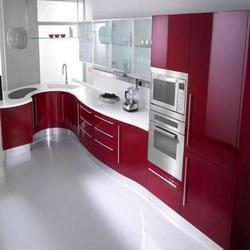 Commercial Acrylic L Shaped Modular Kitchen