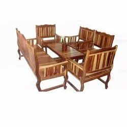 Mayil Furnitures Brown Wooden Chair Table Set