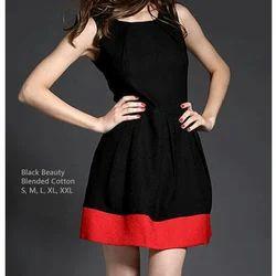 Blended Cotton Western Wear Plain Party Wear Dress