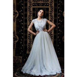 Net Party Wear SZGW31 White Long Gown