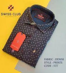 Collar Neck Swiss Club Men's Casual Denim Printed Shirt
