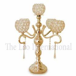 Decorative Crystal Aluminium Candelabra Gold Plating