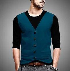 Plain Cotton Jacket Attached Round Neck T Shirt, Size: S to XXL