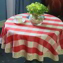 Airwill White, Red Round Table Cloth, Size: 140 X 140 Cm