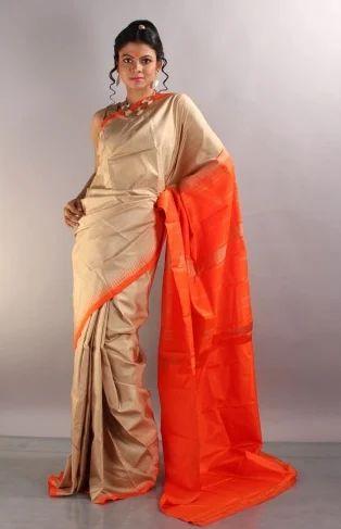 42ab5a2e3d Cream And Red Plain South Indian Silk Designer Saree P50, Rs 9000 ...