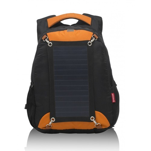 Orange Polyster Sunsac Solar Panel Backpack Focus