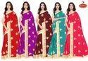 Dyed Georgette Embroidery & Diamond work Saree - Umeed