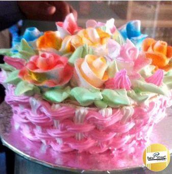 Round Premium Multi Color Flowers Design Cake