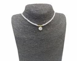 Natural Rainbow Moonstone with  Beaded Rosary Chain Necklace
