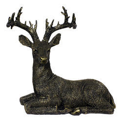 Antique Black Look Sitting Deer Statue/ Showpiece Gift Item