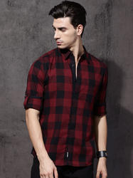 Red & Black Full Sleeves Mens Casual Shirts