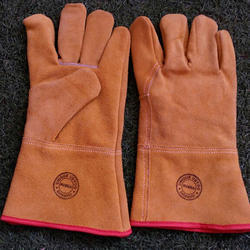 Safety Gloves Full Finger Leather Hand Gloves, For Industrial, Size: Free Size