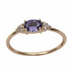 Solitaire Accents Tanzanite Gemstone Diamond 9k Yellow Gold Women Ring