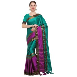 Green & Magenta Colored Silk Casual Saree