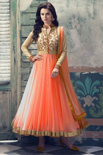 8893560154 Net Peach Color Designer Party Wear Salwar Kameez, Rs 780 /piece ...