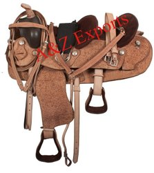 100% Genuine Original Leather Western Double Seat Saddle Tack