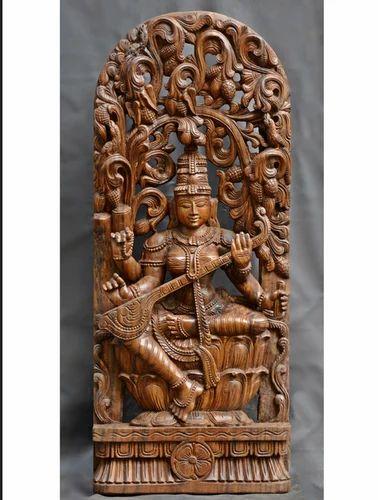 Vidhya Saraswathi Sitting On Lotus With Jolly Works 36 Inch Wood Carvings,  वुडन कार्विंग, लकड़ी की नक्काशी - Sengottuvel Wood Carvings, Salem   ID:  16076586633