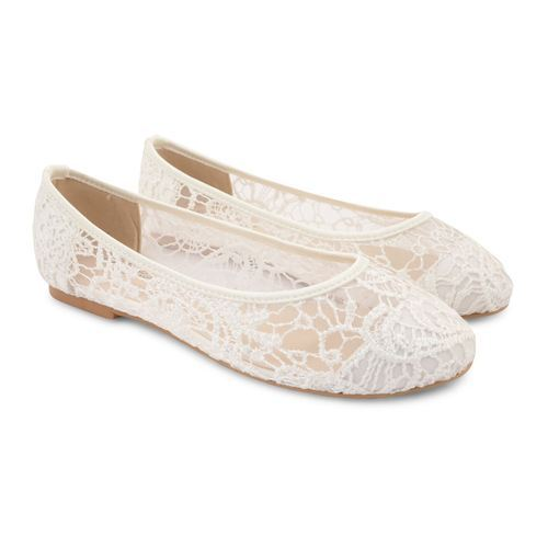 White Women Lace Ballerina Shoes, Rs